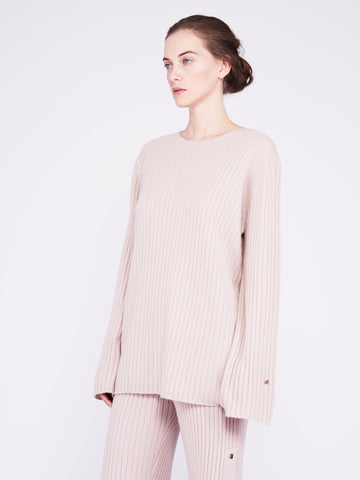 Get Set Oversized Ribbed Cashmere Sweater - Dusty Pink - Movers & Cashmere