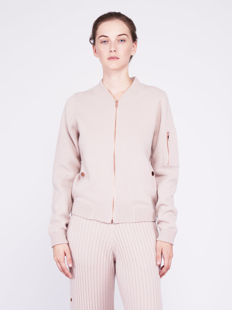 Globe-Trotter Two-Tone Cashmere Bomber - Dusty Pink x Sand - Movers & Cashmere