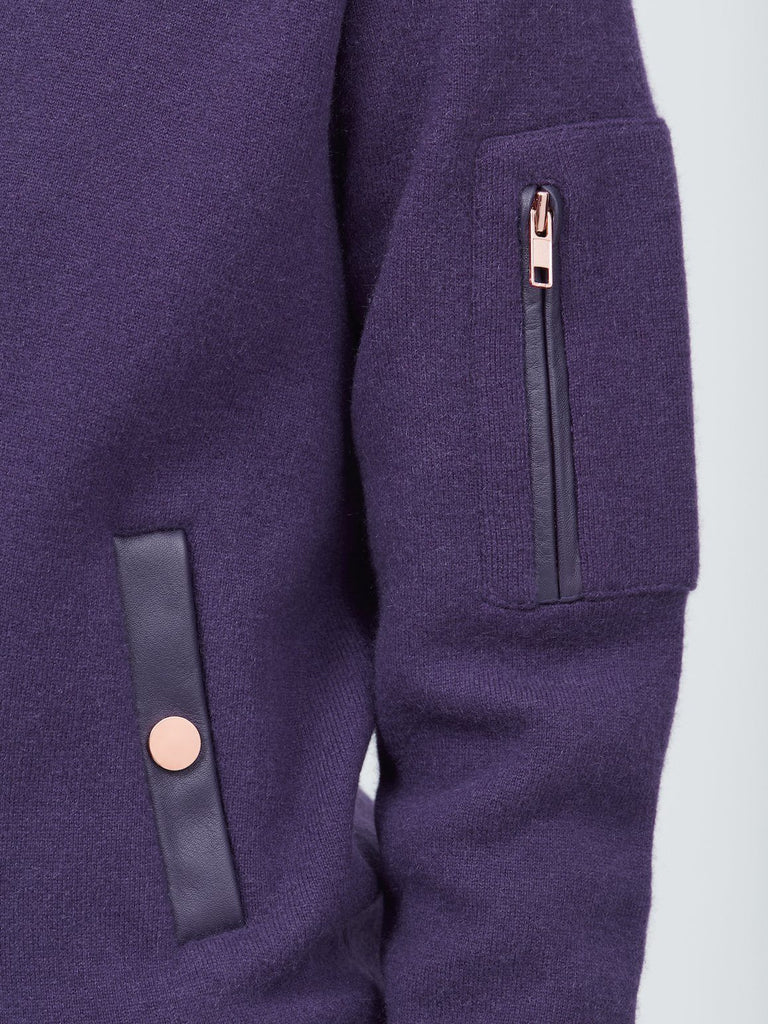 Aarhus Cashmere-Leather Bomber - Violet Purple - Movers & Cashmere