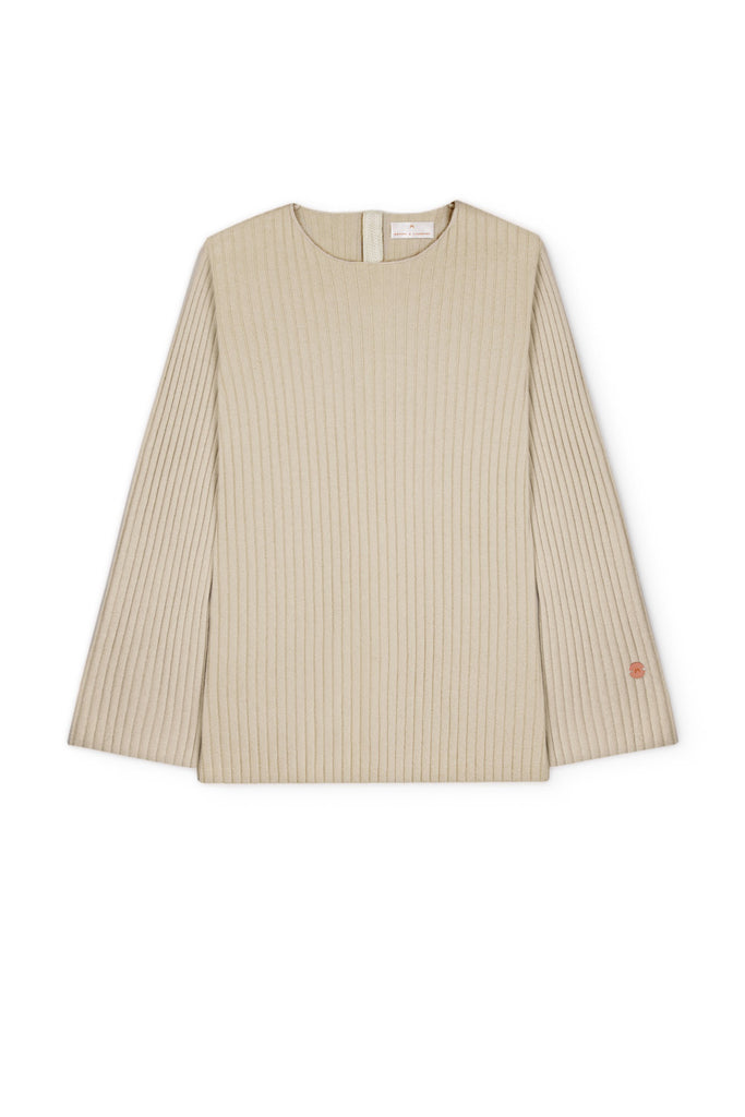 Get Set Oversized Ribbed Cashmere Sweater - Sand - Movers & Cashmere