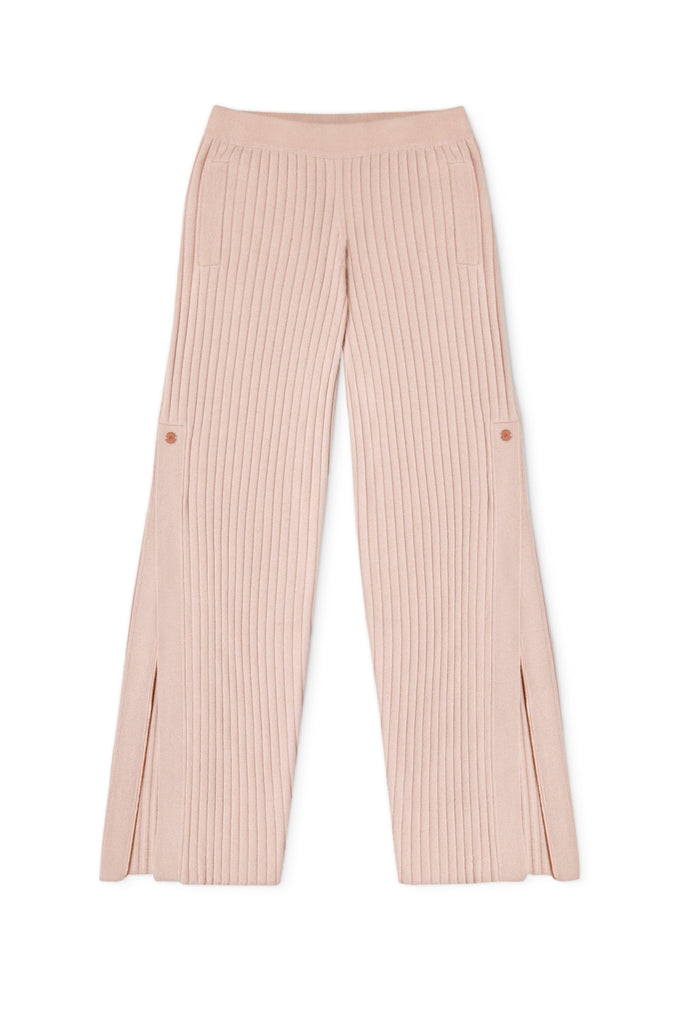 Get Set Ribbed Cashmere Wide-Leg Track Pants - Dusty Pink - Movers & Cashmere
