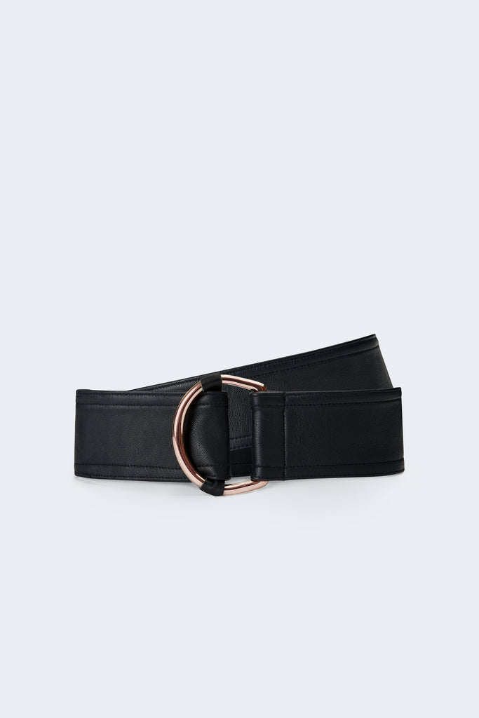 Center-in Rose Gold Leather Belt - Black - Movers & Cashmere