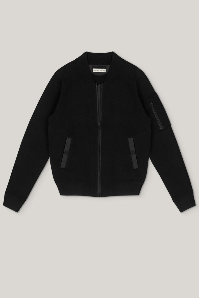Aarhus Cashmere-Leather Bomber - Matt Black (Sørensen Limited Edition) - Movers & Cashmere