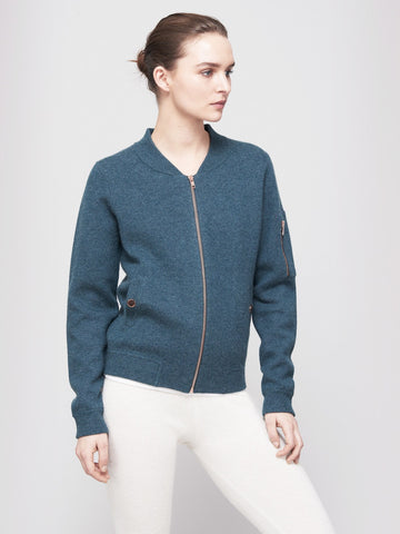 Globe-Trotter Two-Tone Cashmere Bomber - Dusty Green Blue X Rose Blitz - Movers & Cashmere