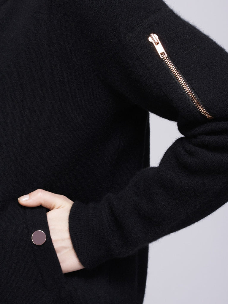 Globe-Trotter Two-Tone Cashmere Bomber - Black X Girasol Green - Movers & Cashmere