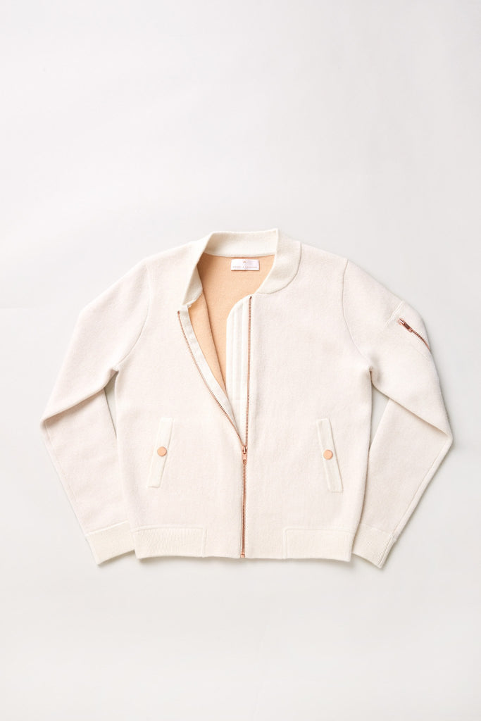 Globe-Trotter Two-Tone Cashmere Bomber - Winter White X Camel - Movers & Cashmere