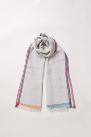 Cashmere Tipped Scarf - Light Grey [Seasonal Delight] - Movers & Cashmere