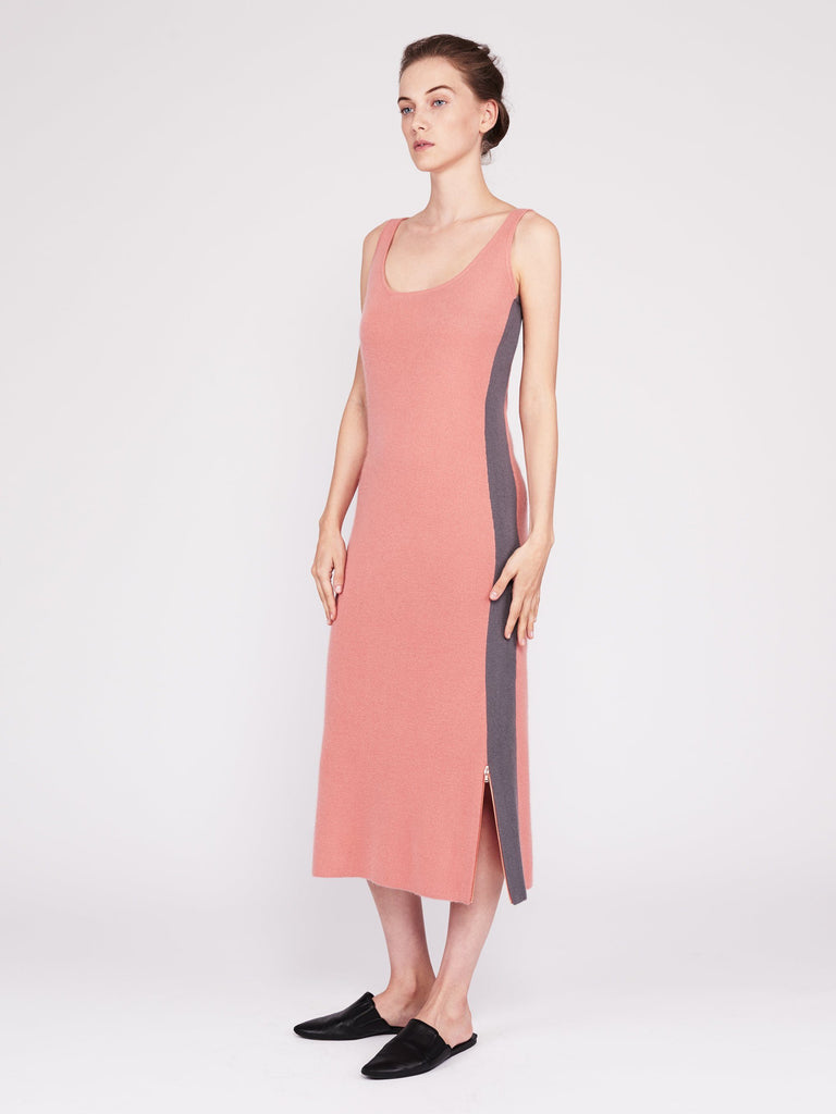 CMMC Striped Scoop Neck Cashmere Maxi Dress - Sakura x Jet Grey - Movers & Cashmere