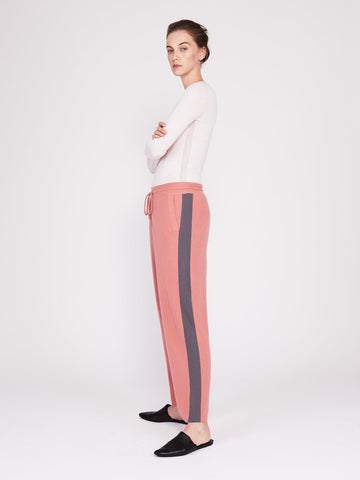 CMMC Striped Cashmere Track Pants - Sakura x Jet Grey [Coming Soon] - Movers & Cashmere