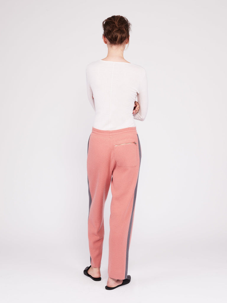 CMMC Striped Cashmere Track Pants - Sakura x Jet Grey - Movers & Cashmere