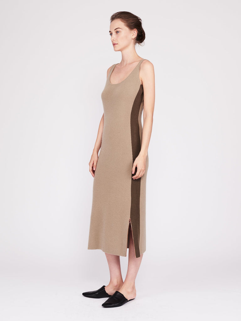 CMMC Striped Scoop Neck Cashmere Maxi Dress - Moss x Military - Movers & Cashmere