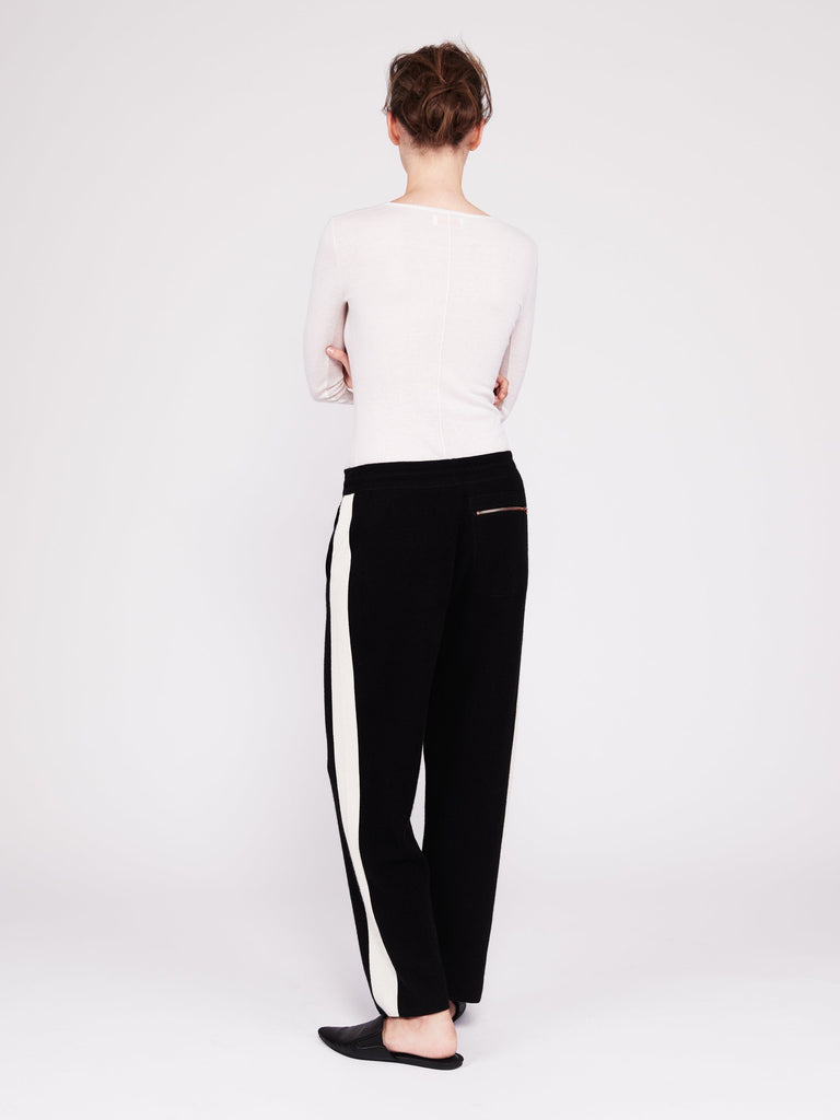 CMMC Striped Cashmere Track Pants - Noir x White [Coming Soon] - Movers & Cashmere