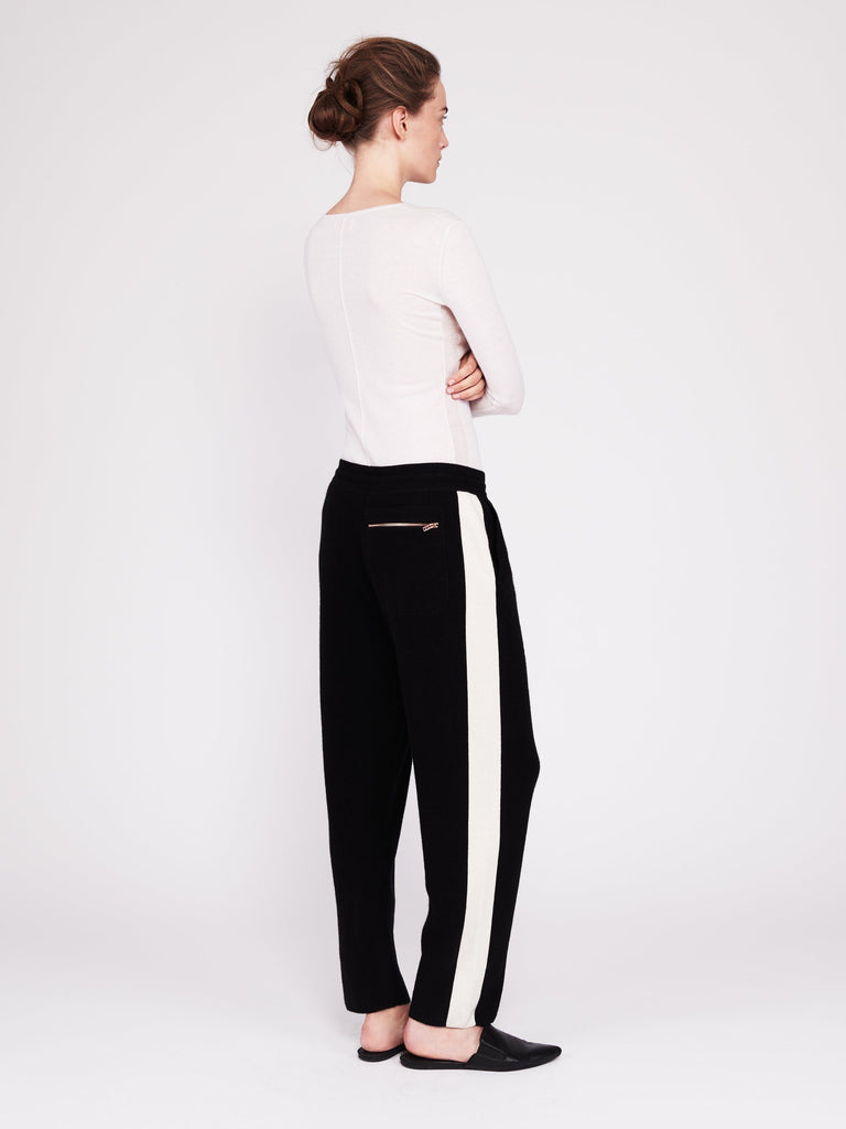 CMMC Striped Cashmere Track Pants - Noir x White - Movers & Cashmere