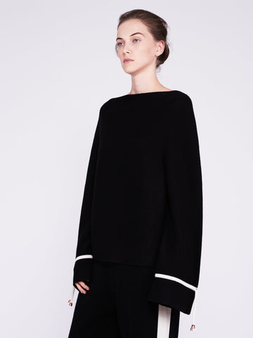 CMMC Bell Sleeve Cashmere Sweater - Noir x White [Coming Soon] - Movers & Cashmere