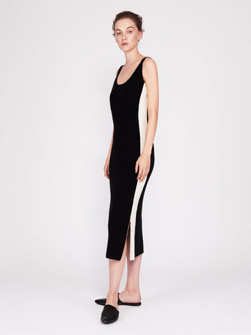 CMMC Striped Scoop Neck Cashmere Maxi Dress - Noir x White - Movers & Cashmere