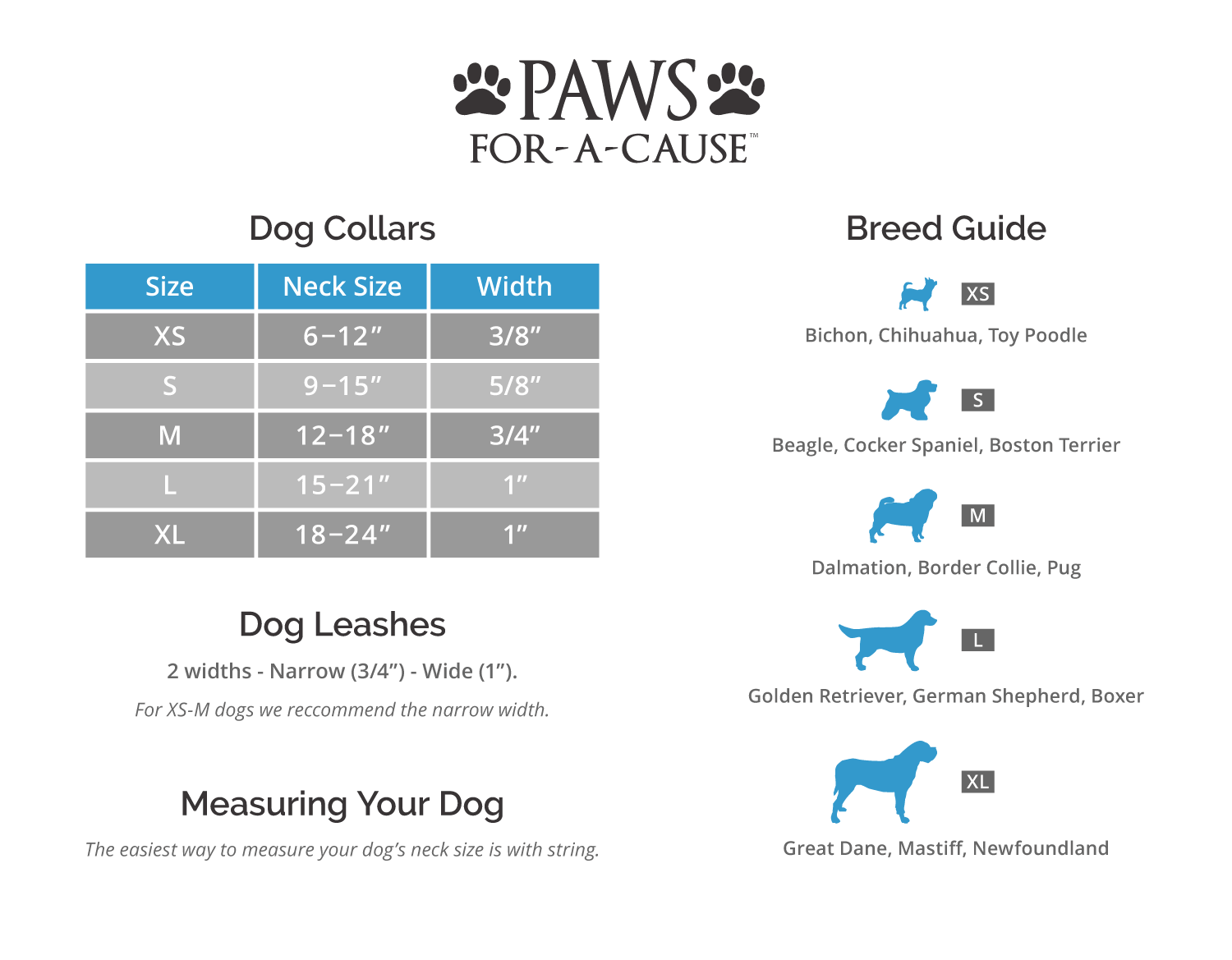 Paws For A Cause Dog Products Size Chart