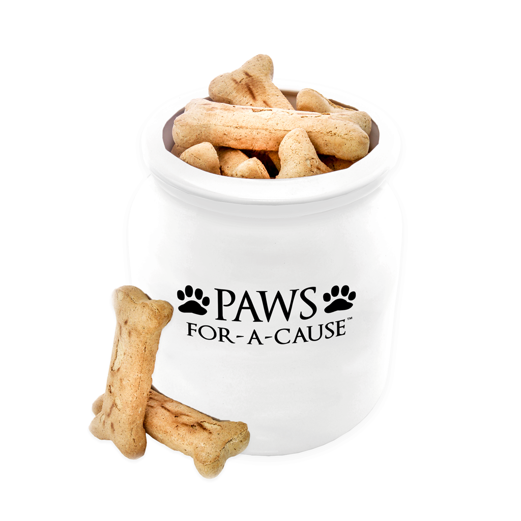 Paws For A Cause White Dog Treat Biscuit Jar