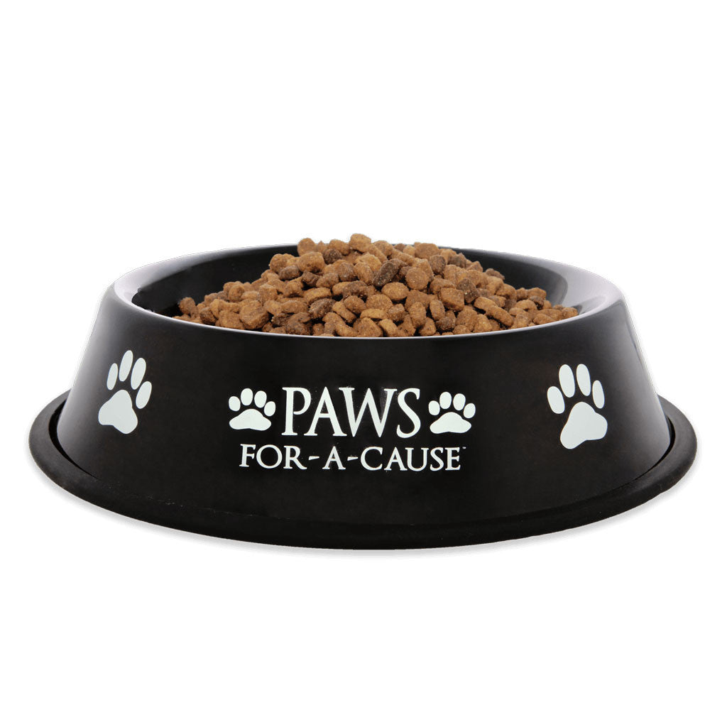 Paws For A Cause Black Metal Dog Bowl