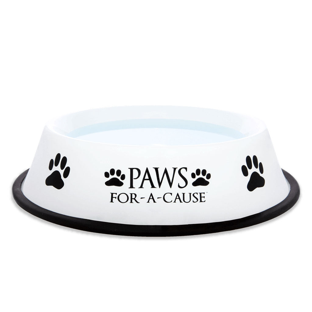 Paws For A Cause Black White Metal Dog Bowl