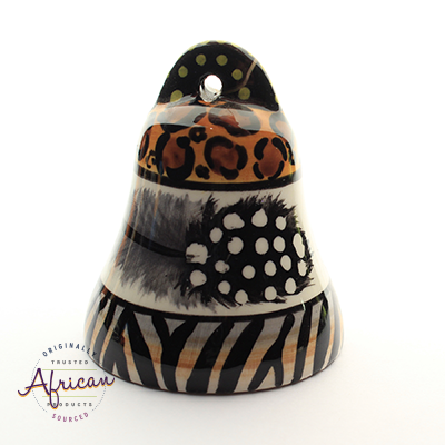 Ceramic Christmas Bell Decoration Tribal