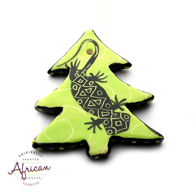 Ceramic Christmas Tree Decoration Green Lizard