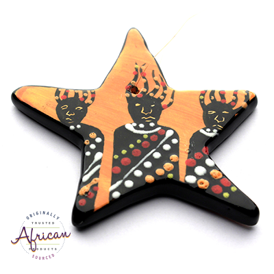 Ceramic Christmas Star Decoration Zulu