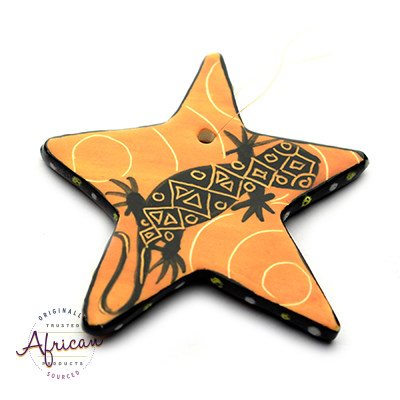 Ceramic Christmas Star Decoration Orange Lizard