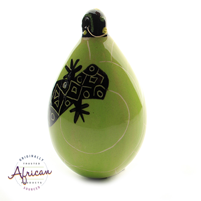 Ceramic Christmas Tear Drop Decoration Green Lizard
