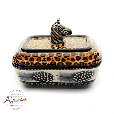 Ceramic Rectangular Butter Dish Tribal