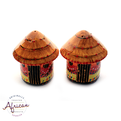 Ceramic African Hut Salt and Pepper Set
