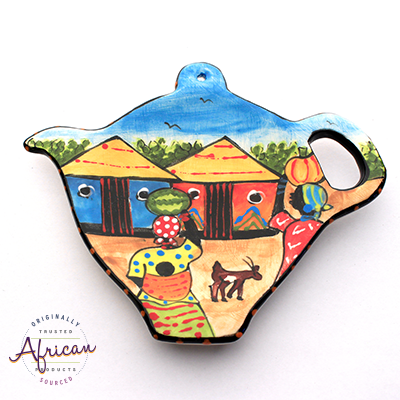 Ceramic Tea Bag Holder Village