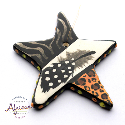 Ceramic Christmas Star Decoration Tribal