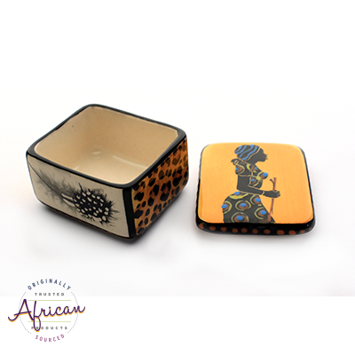 Ceramic Rectangular Trinket Box Shona