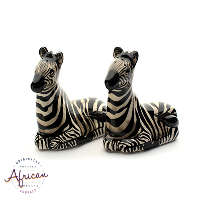 Ceramic Zebra Salt and Pepper Set
