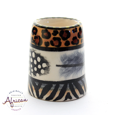 Ceramic Toothpick Holder Tribal