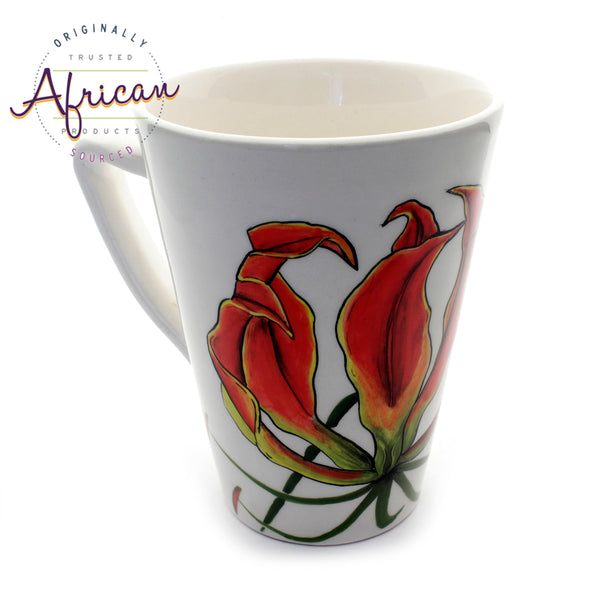 Ceramic Coffee/Tea Mug - Flame Lily Flower