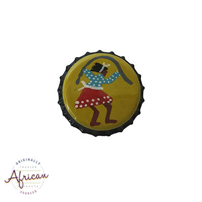 Painted Bottle Tops - Fridge Magnet: Lady Skipping