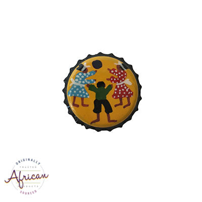 Painted Bottle Tops - Fridge Magnet: Children Playing