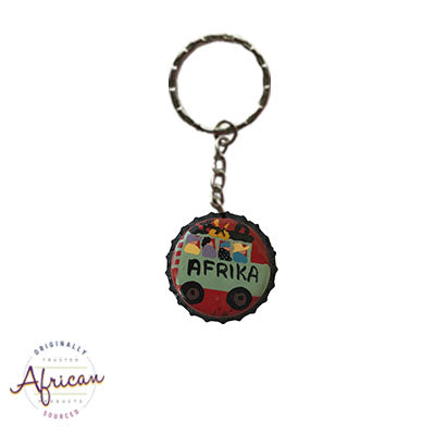Painted Bottle Tops - Keyring: Afrika Bus