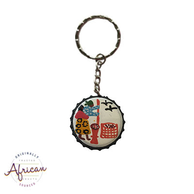 Painted Bottle Tops - Keyring: Lady making mealiemeal