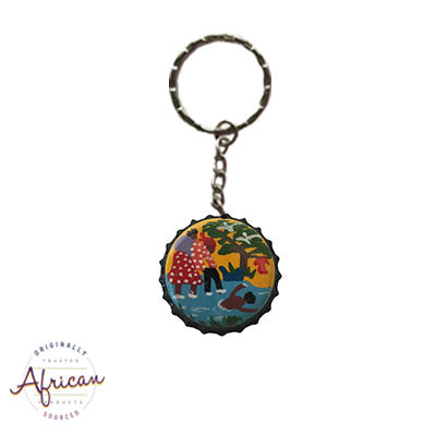 Painted Bottle Tops - Keyring: Family Swimming