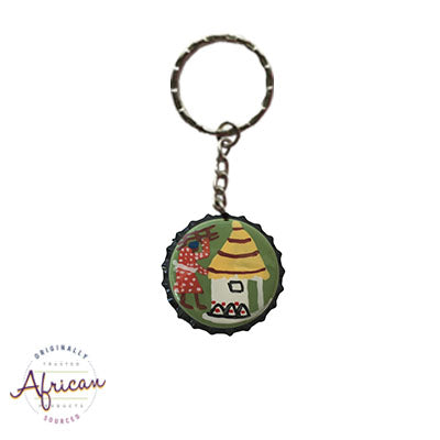Painted Bottle Tops - Keyring: Lady by her Hut