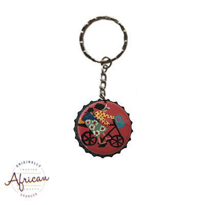 Painted Bottle Tops - Keyring: Bicycle (Mother & baby)