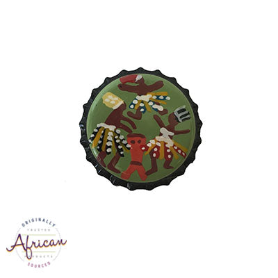 Painted bottle tops - Fridge Magnet: Dancing Warriors