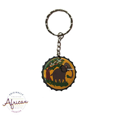 Painted Bottle Tops - Keyring: Elephant (single)