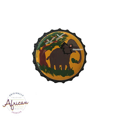 Painted Bottle Tops - Fridge Magnet: Elephant (single)