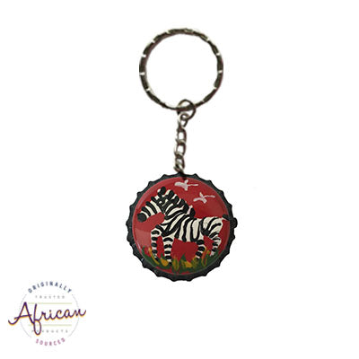 Painted Bottle Tops - Keyring: Zebra (single)