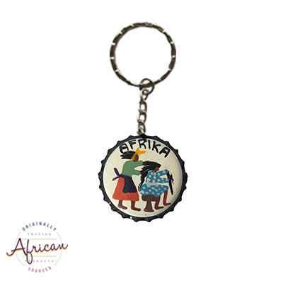 Painted Bottle Tops - Keyring: Lady doing hair braiding