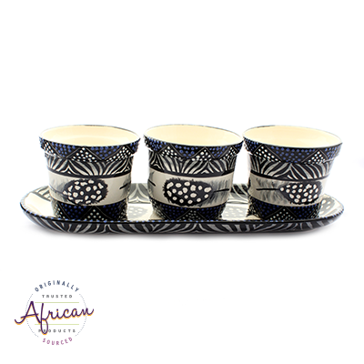 Ceramic Flower Pots Set Tray Ndebele