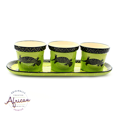 Ceramic Flower Pots Set Tray Green Lizard